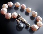 RESERVED for A -14K Gold Kasumi Like Wrinkle Pearl Bracelet with Pyrite and a Tourmaline Charm