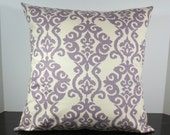 Damask scroll decorative pillow cover 18x18 inches Accent cushion sham slipcover in lilac lavender on ivory