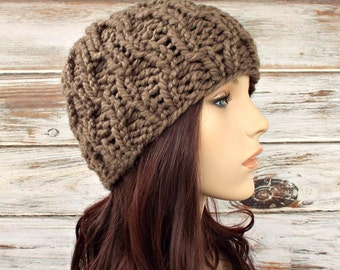 Knit Hat Womens Hat - Amsterdam Beanie in Taupe Brown Knit Hat - Taupe Hat Brown Hat Taupe Beanie Brown Beanie Womens Accessories Winter Hat