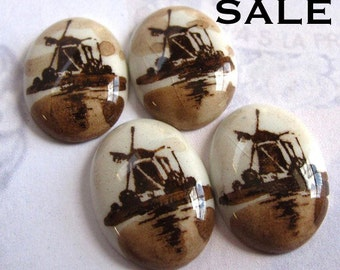 LOW Stock- 5 Sets Left- Vintage Ceramic Limoges Cabochons With A Windmill Decal (6X) (CB509) SALE - 33% off