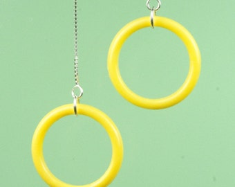 Vintage Yellow Lucite Circle Drop Earrings