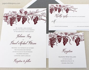 Vineyard Wedding Invitations, Winery Wedding Invitation, Grapevine Wedding Invitation, Wine Country Wedding Invitations, Wine Tasting Invite
