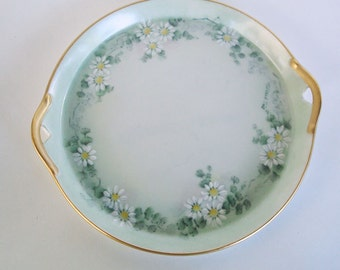Light Green Handled Dresser Tray Serving Dish Daisies Hand Painted Signed Vintage