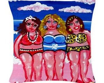 3 Beach Divas Friends Pillow - Woven Throw Pillow Whimsical Art by Renie Britenbucher