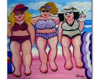 3 Big Beach Divas Girlfriends Fun Whimsical Folk Art Ceramic Tile