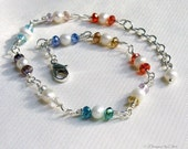 Pearl and Crystal Anklet, Wire Wrapped Freshwater Pearls & Multi Color Crystals, Adjustable Anklet Handmade Jewelry Gift for Her