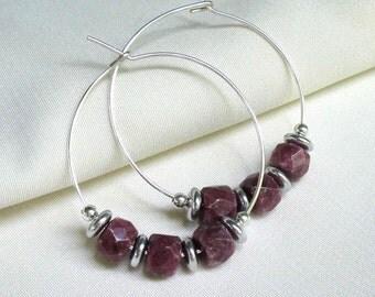 Purple Rhodonite Silver Hoops, Handmade Large Silver Hoop Gemstone Earrings... See Matching Bangle Bracelet