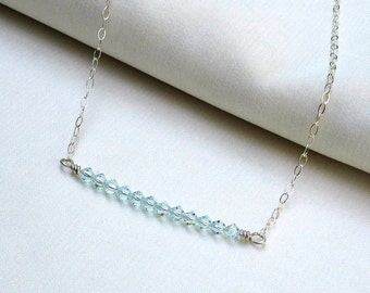 Ice Blue Crystal Bar Necklace, Sterling Silver Wire Wrapped Swarovski Crystal Stack, Delicate Handmade Jewelry Gift for Her