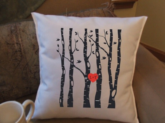 Personalized Heart Throw Pillow : birch tree with personalized heart throw pillow cover