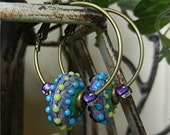 SRA Handmade LAMPWORK EARRINGS hoops glass beads Donna Millard boho tribal hippie hip primitive bohemian gypsy