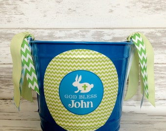 custom personalized 10 QUART Easter bucket with cross bunny