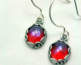 Elfin Treasure Dragon's Breathe Petite Sterling Silver Earrings Whimsy Mexican Fire Opal Mystical