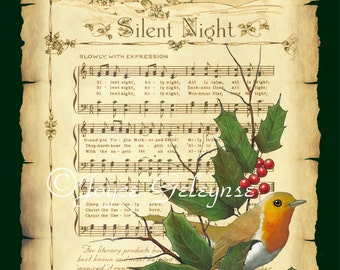 Printable Christmas Card, Silent Night, Parchment, English Robin, Holly, Twigs: Original Art, You Print