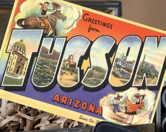 Vintage Large Letter Postcard Save the Date (Tucson, Arizona) - Design Fee