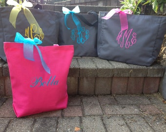 Bride Tote Bag Bridesmaid - set of 3 -Maid of Honor Mother of the Bride Black Purple Pink Fushia Orange Silver Christmas Teacher Gifts