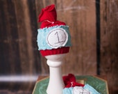 "Thing 1 and Thing 2 ""seuss"" Newborn hats for Photographers OOAK 2 hats included"