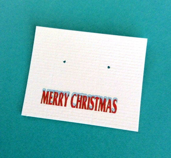 Christmas Personalized, post earring cards, set of 30, holiday jewelry card, double sided