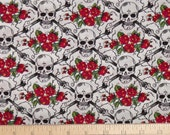 "1 yard + 33"" Shamash & Sons skulls, crossbones and roses in white fabric SALE"