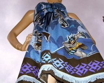 Batman Dress OOAK Upcycled Dark Knight Mom Party Maternity Summer Super Hero Comic Con Geek Sundress Blue Black Adult S M L XL XXL Plus Size