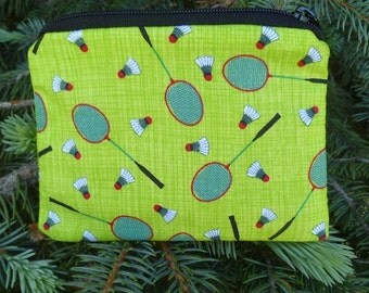 Badminton coin purse, gift card pouch, credit card pouch,  The Raven