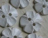 36 Vintage white 2 hole flower buttons 7 of them