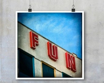 Retro Fun Sign Signage Blackpool Pier English Seaside red blue white sky holiday summer 12x12 18x18 15x15 22x22 square inch photograph print