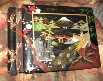 Vintage Souvenir of Panama Wooden Album with 1950's Wedding Cards and More