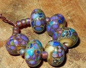 Reserved listing for Barbara- Blue Hydrangea Organic Purple Blue Silvered Lampwork Donut Beads Handmade Gypsy Boho SRA