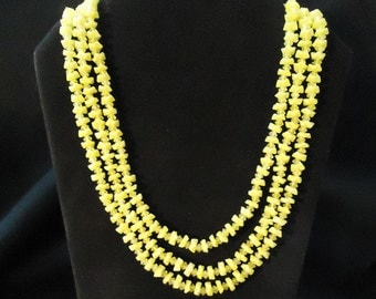 Bright Yellow Plastic Beaded Necklace Multi Strands Made in Hong Kong Three Strands Bright Lemon Yellow Costume Jewelry