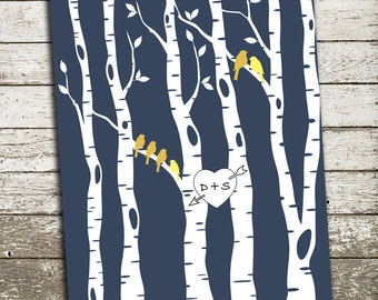 Family Tree Wall Art - Birch Tree and Birds - Gift Print for Weddings, Families, Engagements, Couples, Anniversaries