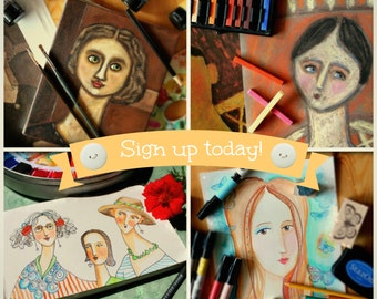 WORKSHOP online ART CLASS - Painting inspired by Modigliani 4 different techniques acrylic paint pastels watercolor teaching by tascha