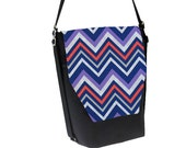 Convertible Backpack - Sling Purse - Shoulder Bag - iPad Purse - REMOVABLE FLAP - Chevron Stripes Fabric