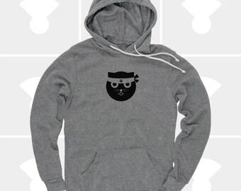 Cat Shirt Hoodie Men, Kung Fu Watson the Cat, Funny, Pullover Sweatshirt, Crazy Cat, Gift Cat Lovers, Hipster, Ninja Kitty, Gift for Men