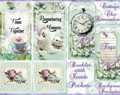 Cottage Chic Remembrance Tag Mini Booklet INSTANT DOWNLOAD Digital Printable
