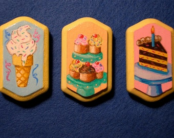 Refrigerator Magnets, Painted Frig Magnets, Dessert Magnets, Cake Magnets, 50's Look Magnets, Brightly Colored Magnets, Rectangle Magnets