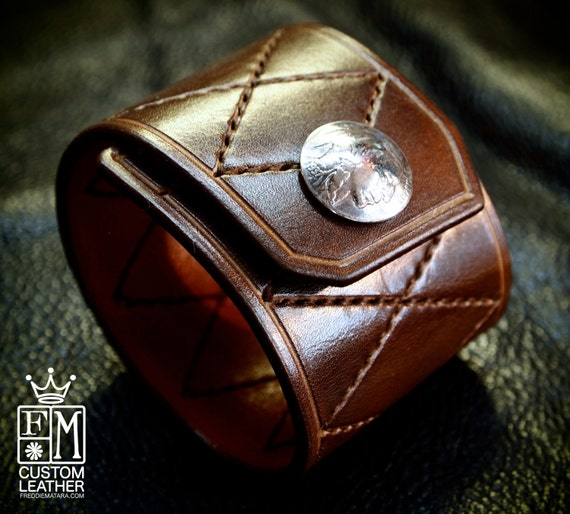 Leather Cuff Custom Quilted Handstitched Luxury Genuine Buffalo Nickel closure NYC