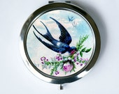 Swallow Carrying Rose Compact Mirror Pocket Mirror Flying  flowers birds nature calm pretty
