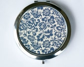 Art Nouveau Floral Blue Grey Compact Mirror Pocket Mirror flowers pattern design