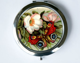 Butterfly Flower Compact MIRROR Pocket Mirror flowers nature calm pretty