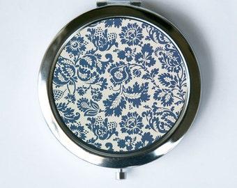 Art Nouveau Floral Blue Grey Compact Mirror Pocket Mirror flowers pattern design