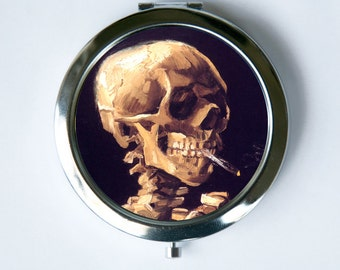 Van Gogh Skeleton Smoking Compact Mirror Pocket Mirror fine art painting