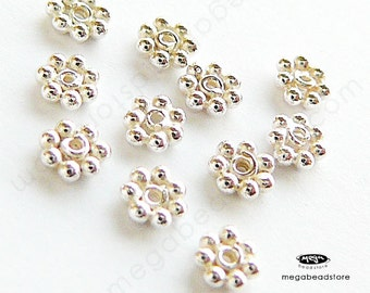 50 pcs 3.5mm Bright Bali Sterling Silver DAISY SPACER Beads S09B