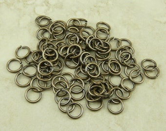 100 TierraCast 4mm 20g Jumprings Jump Rings - Brass Ox Oxide Plated Brass - I ship Internationally 0024