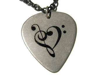 Steel Music Heart Guitar Pick Necklace, chain
