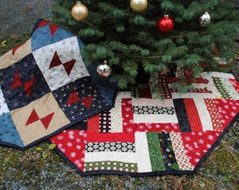 PDF Patchwork Christmas Tree Skirt TWO designs in one pattern. Layer Cake, Jelly Roll and Fat Quarter Friendly
