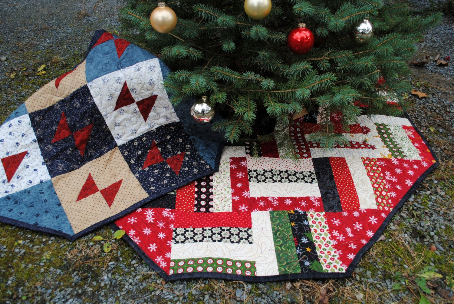 PDF Patchwork Christmas Tree Skirt TWO designs in one pattern.