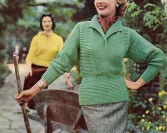 1950s Ladies  Country Sweater Vintage Knitting Pattern pdf  digital Download