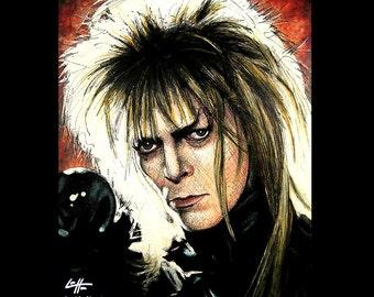 "Print 11x14"" - Jareth - Labyrinth Movie David Bowie Fantasy British Jim Henson Fantasy Goblin King Dark Art Surreal Magic Ziggy New Wave"