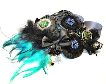 Exquisite Shoulder jewellery, Couture accessories by Monikque, blue, teal, purple and green on black
