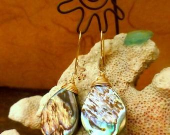 Ocean Inspired Earrings, Abalone, Paua Shell, Abalone Earrings, Island Bling, Hawaiian Style